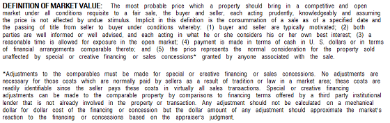 Fannie Mae Definition of Market Value