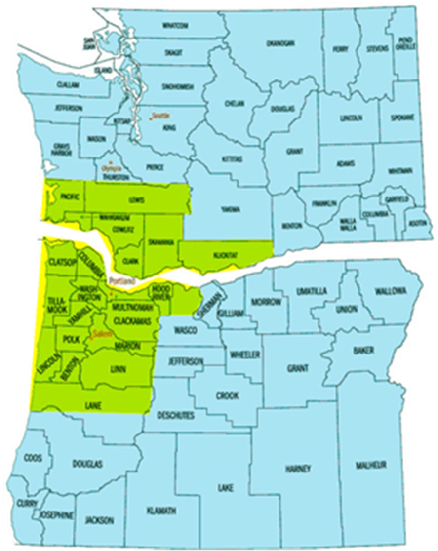 Greater Portland Service Area Map A Quality Appraisal LLC - Map of oregon and washington