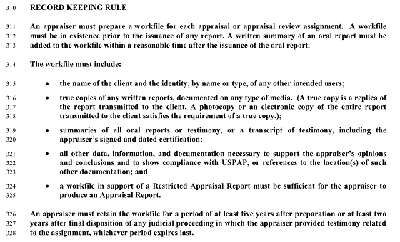 USPAP Appraiser Record Keeping Rule